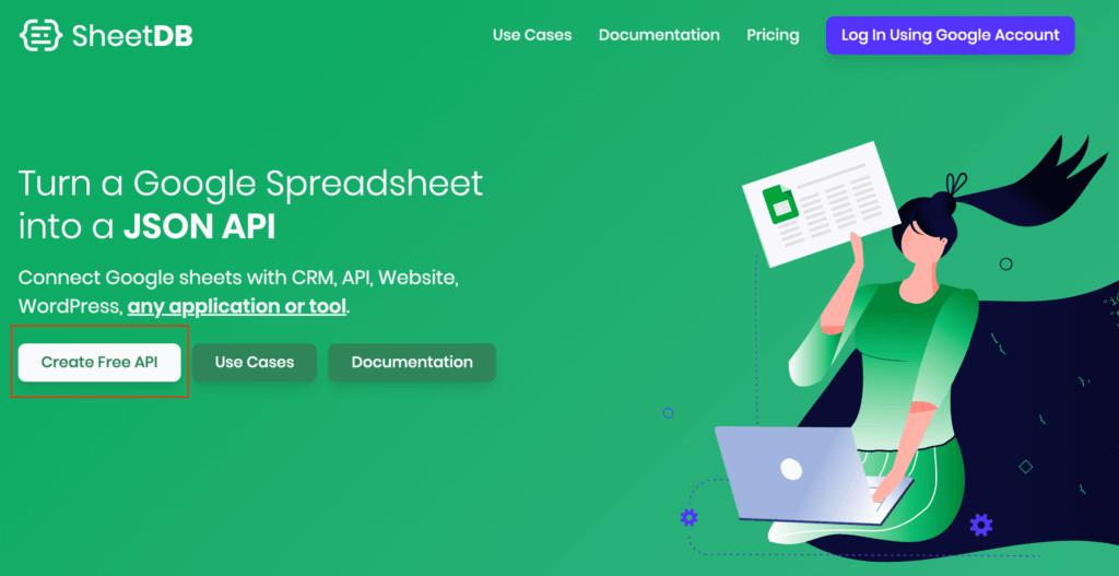 「SheetDB」へアクセスし、「Create Free API」をクリックします。