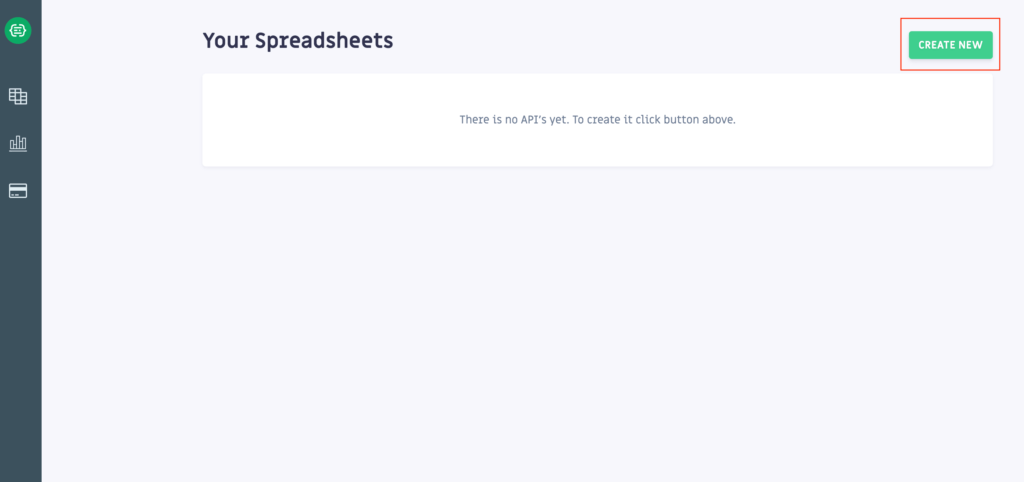 Google認証をしたら、「SheetDB」のホーム画面が表示されますので、「CREATE NEW」をクリックします。