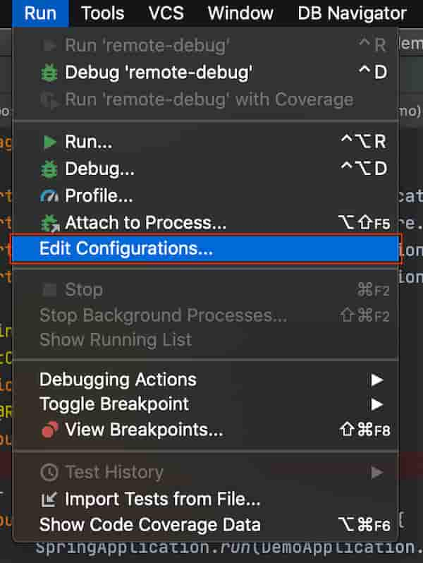IntelliJ IDEA のメニュー -> Run -> Edit Configurations を開きます。