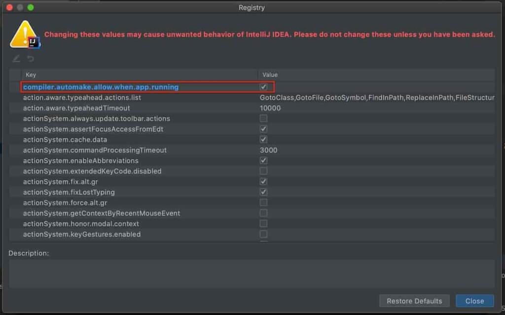 SHIFT + CTRL + A で表示されるウィンドウで「Registry」を検索し、 compiler.automake.allow.when.app.running にチェックを入れます。