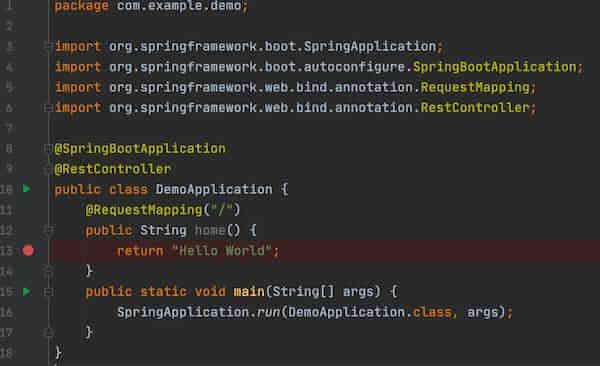 DemoApplication.java へブレークポイントを配置します。