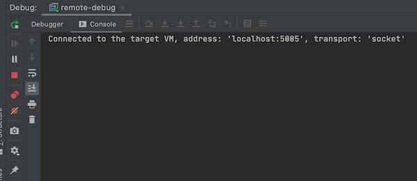 コンソールに「Connected to the target VM, address: 'localhost:5005', transport: 'socket'」が表示されます。